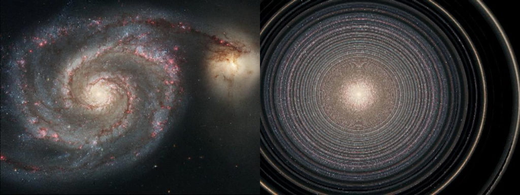 The simulated rotation of M51 after 1 billion years.
